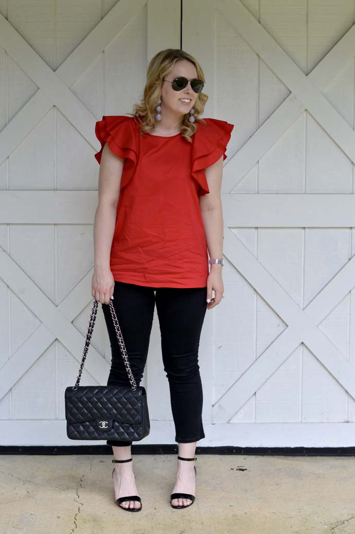 red ruffle top outfit