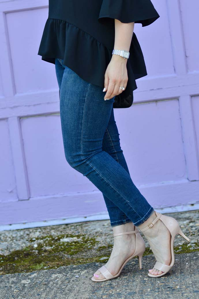 skinny jeans and ankle strap sandals