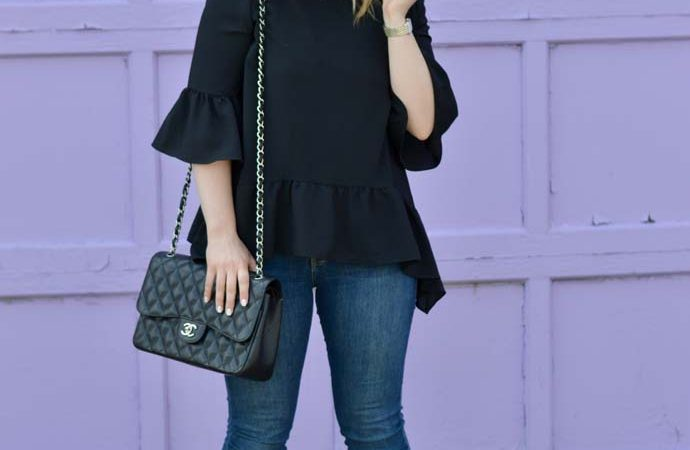 Black Peplum Top and Skinny Jeans
