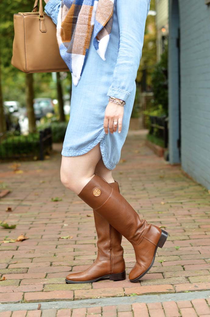 tory burch riding boots outfit