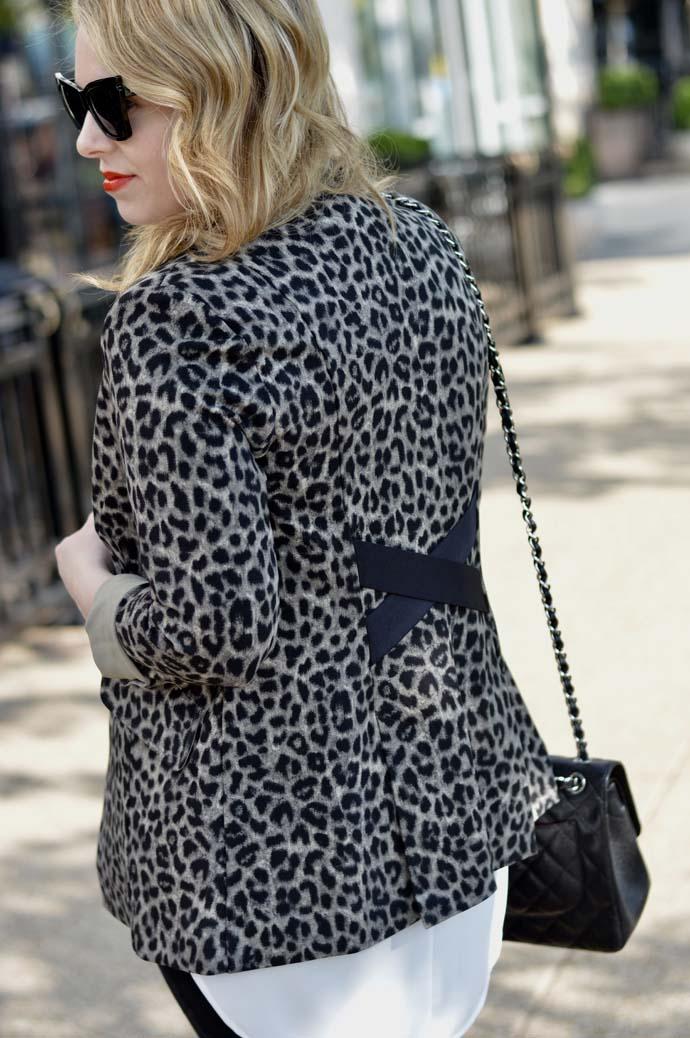 cabi leopard blazer outfit
