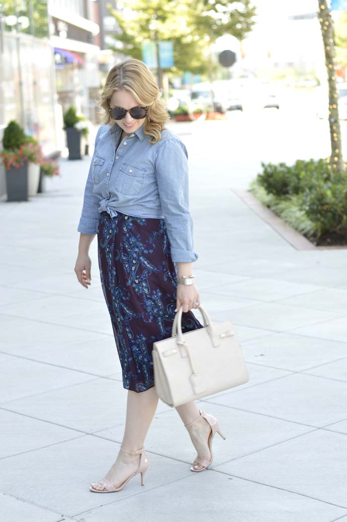 chambray top over dress outfit