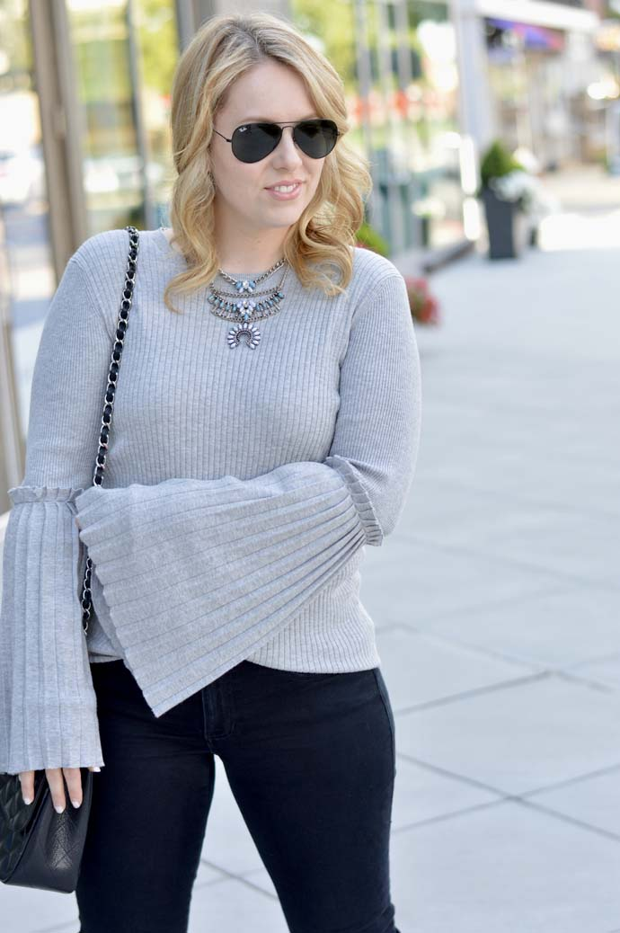 fall bell sleeve sweater outfit
