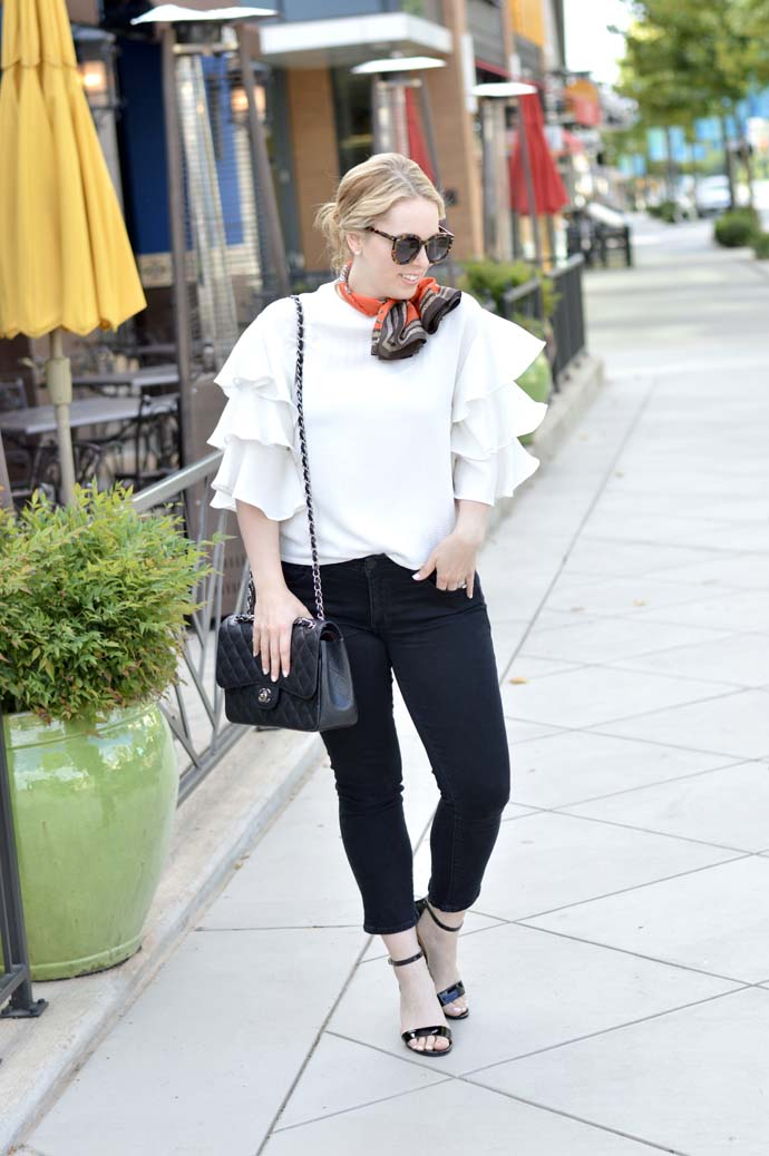 fall outfit with neck scarf