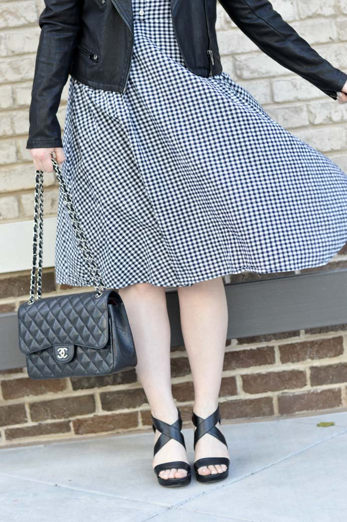 gingham dress wedge sandals