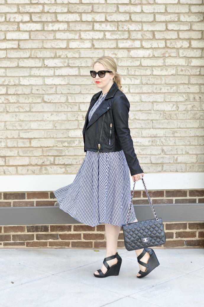 gingham dress and leather jacket