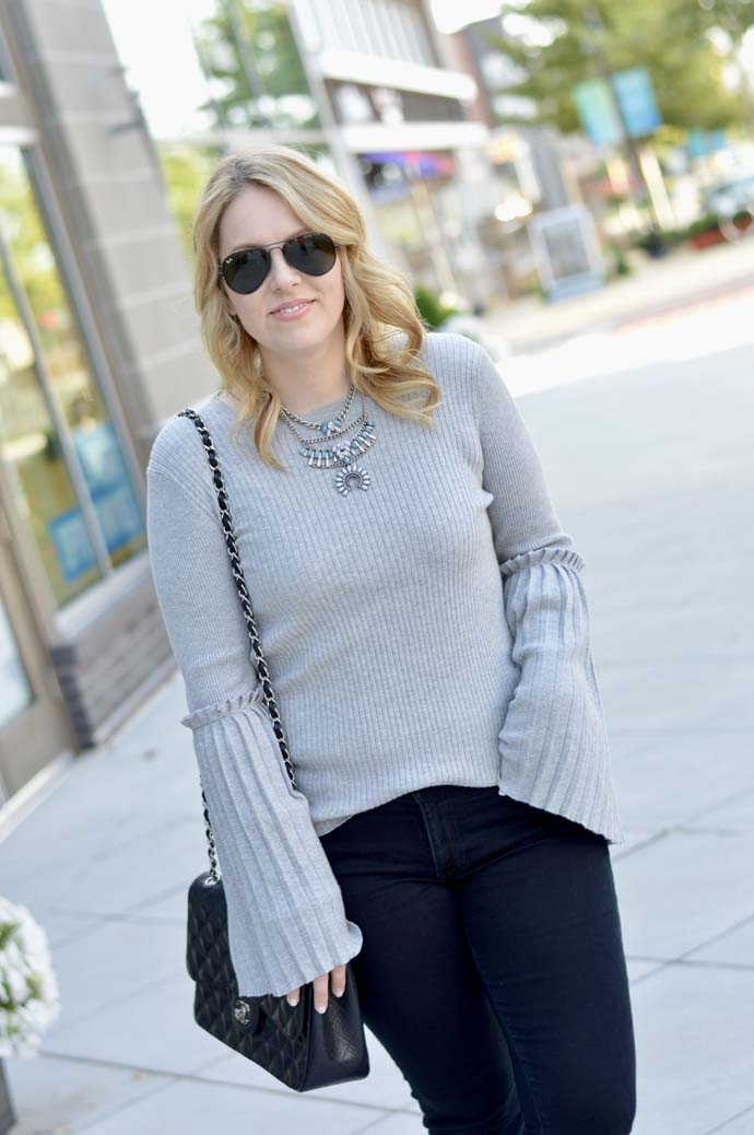 grey bell sleeve sweater nordstrom