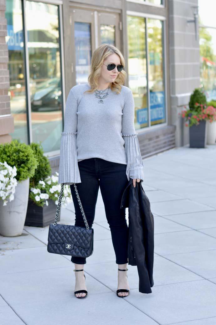 grey bell sleeve sweater outfit