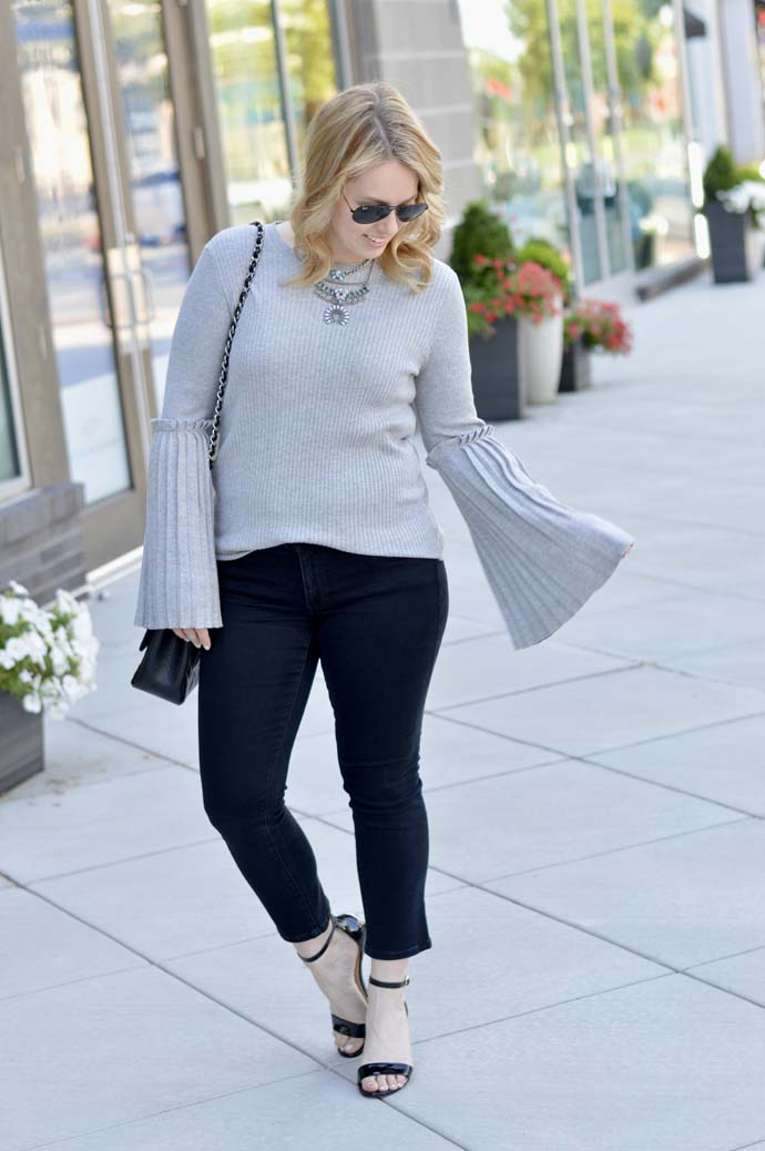 grey sweater black jeans outfit