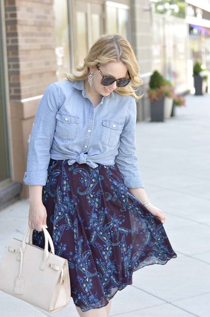 how to wear a chambray shirt over a dress