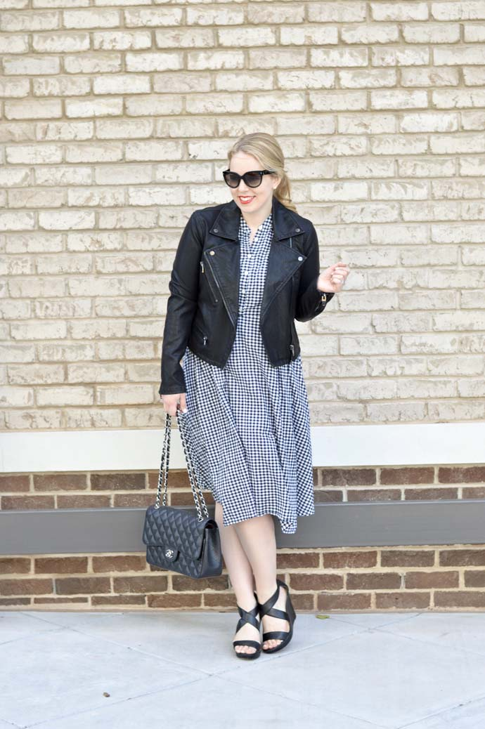 leather jacket gingham dress outfit