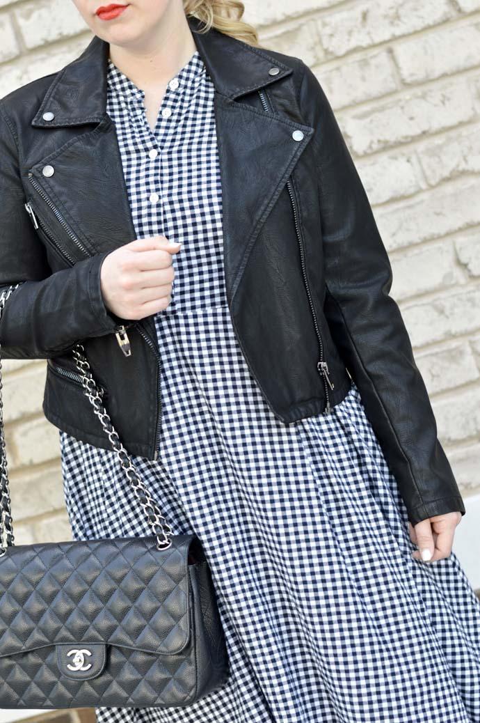 leather jacket gingham dress