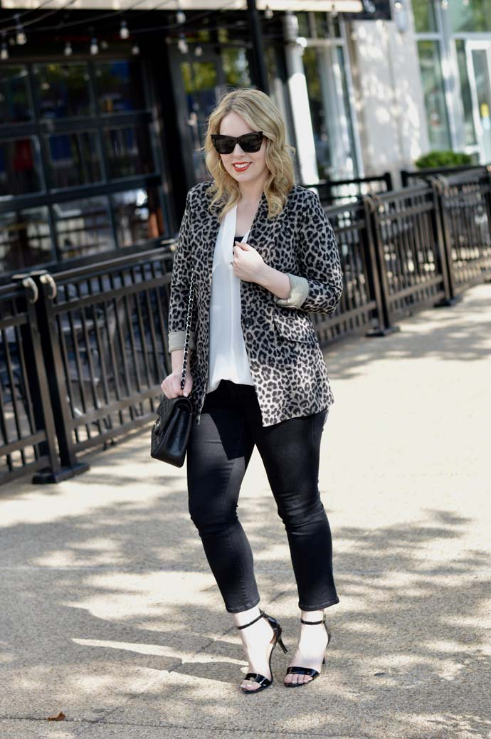 leopard blazer cropped jeans outfit