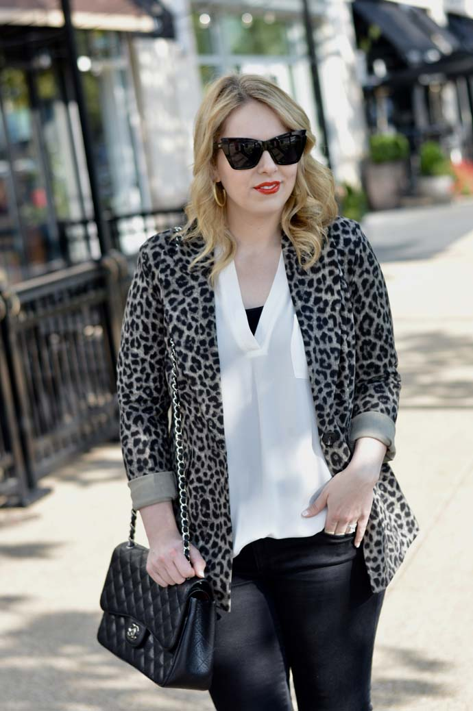 leopard jacket work outfit idea