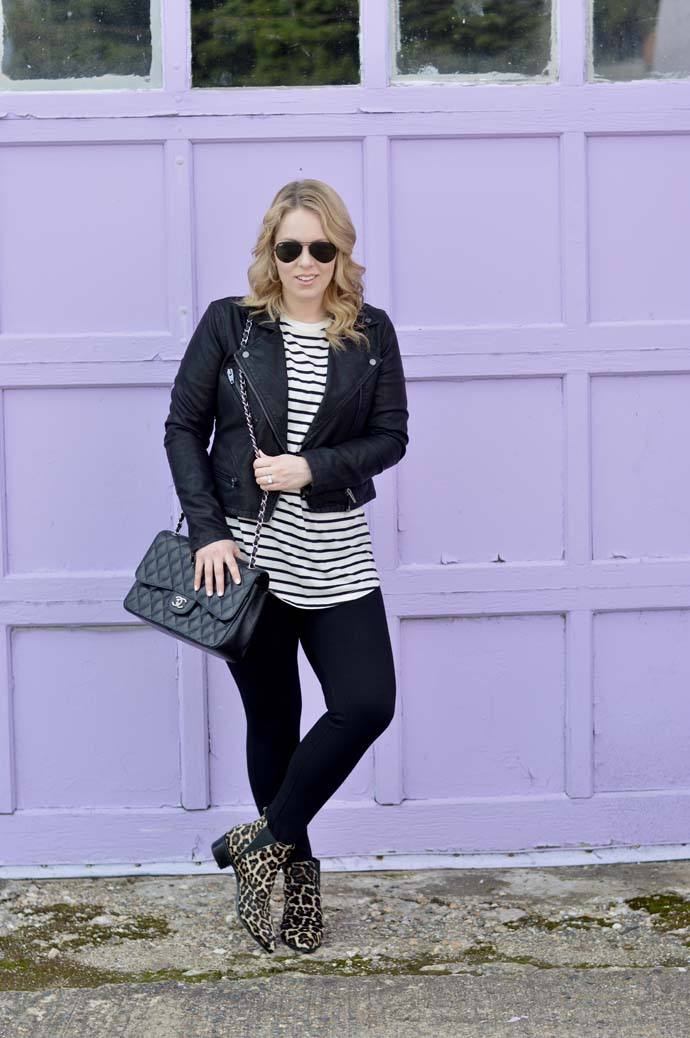 pattern mixing with stripes and leopard