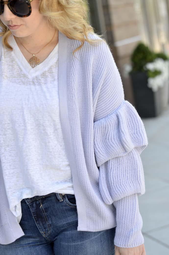 lilac ruffle sleeve cardgian