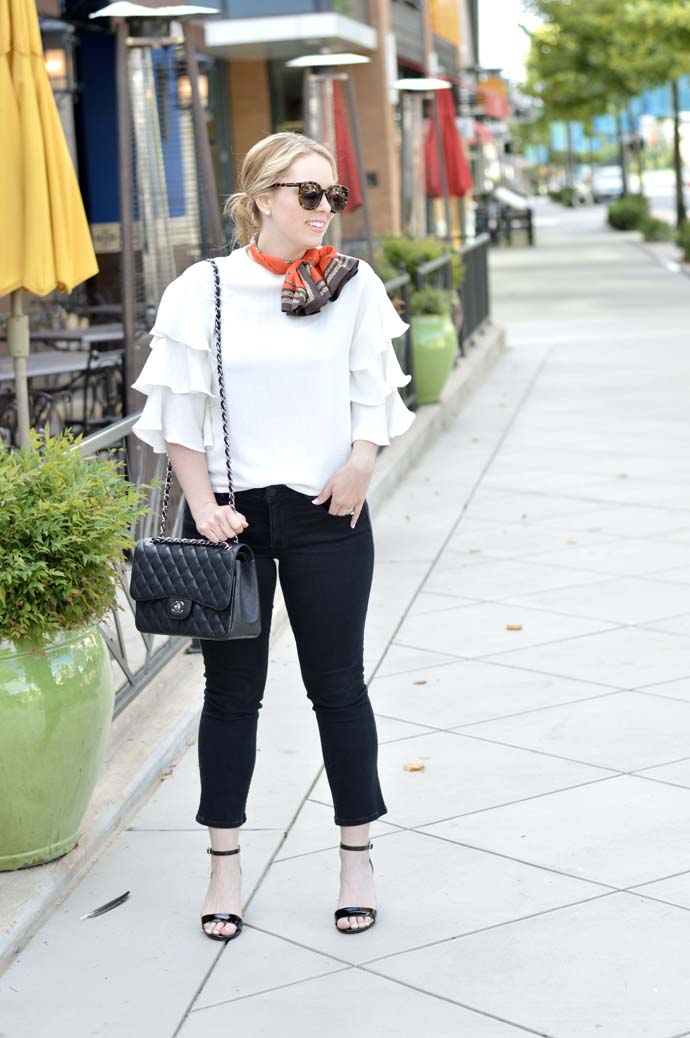 ruffle sleeve top and neck scarf