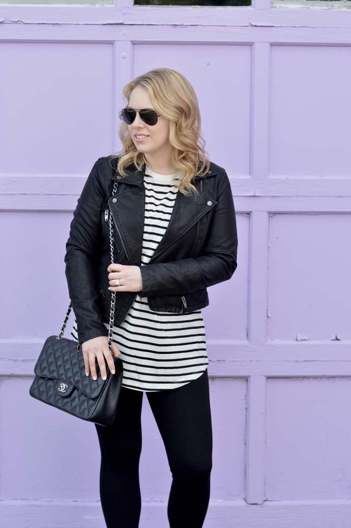 stripe tee faux leather jacket