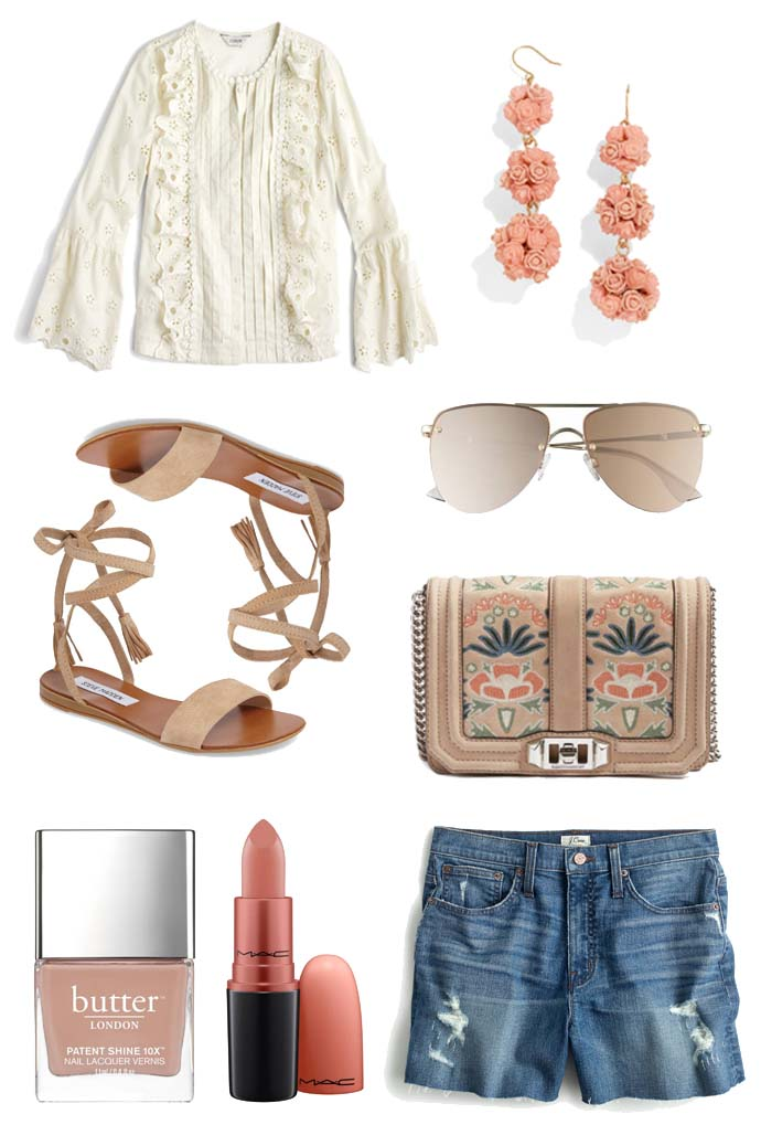 summer outfit idea with white eyelet top