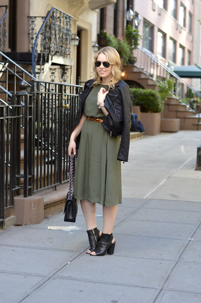 asos olive green fall dress