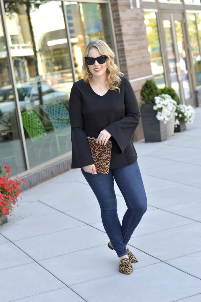 black bell sleeve top outfit