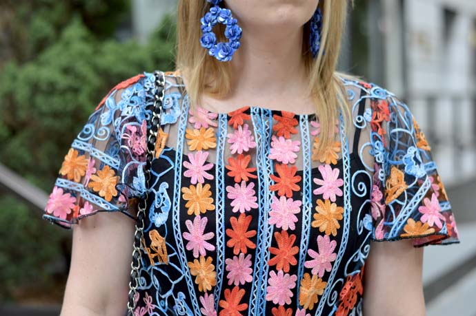 blue floral statement earrings