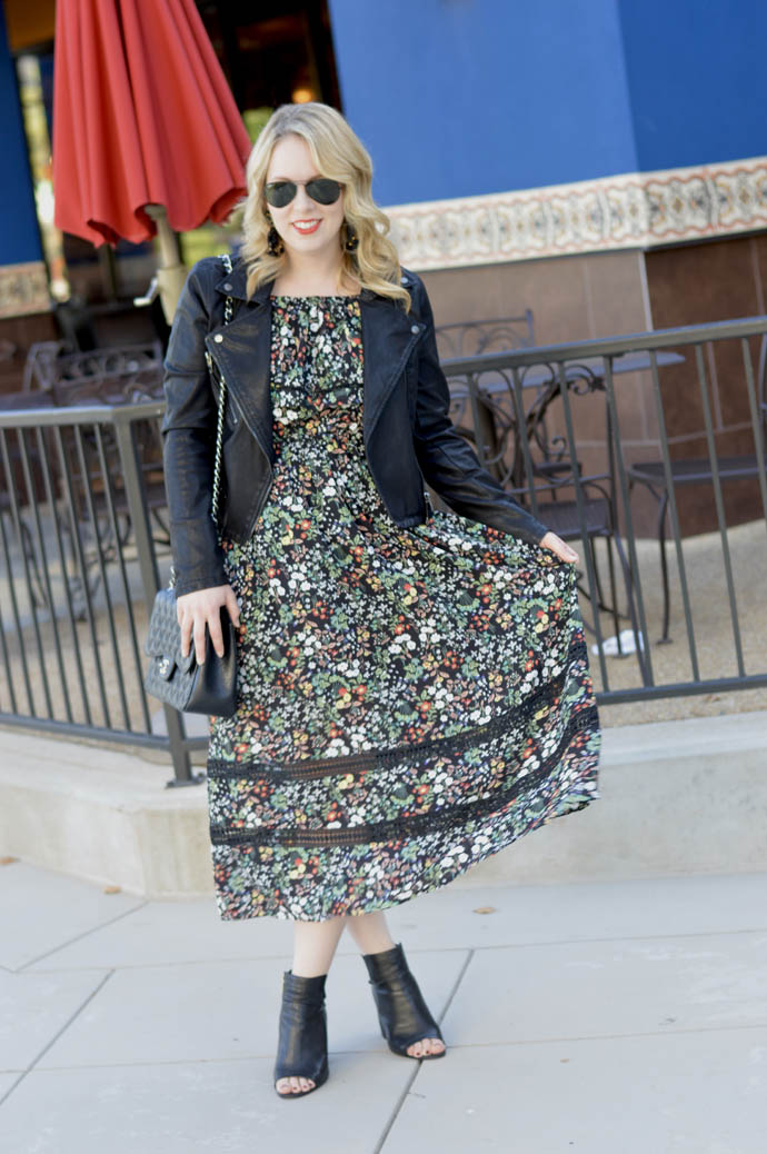 fall floral midi dress outfit