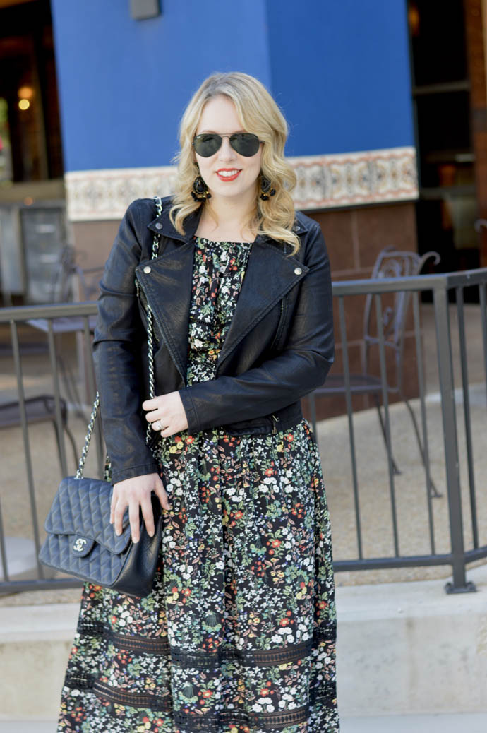 floral dress faux leather jacket