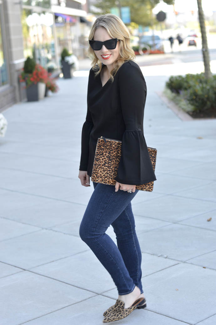 bell sleeve top and leopard accessories