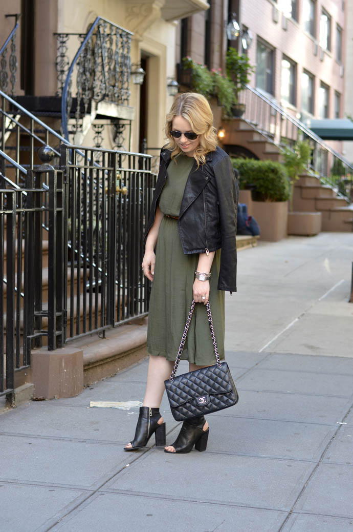 olive green dress leather jacket outfit