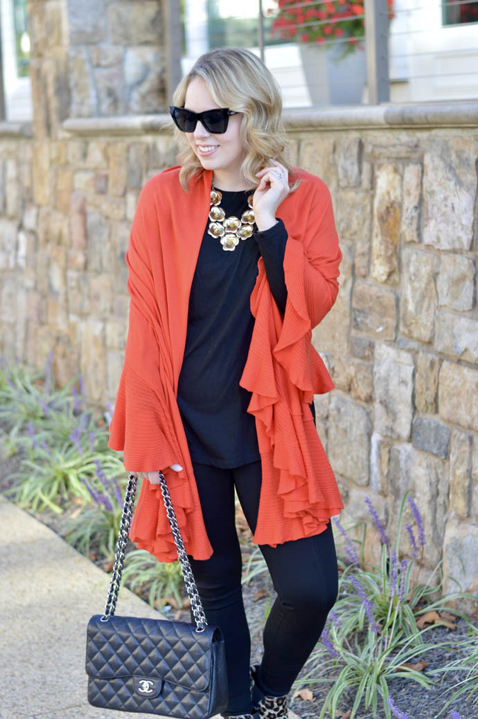 orange ruffle shawl