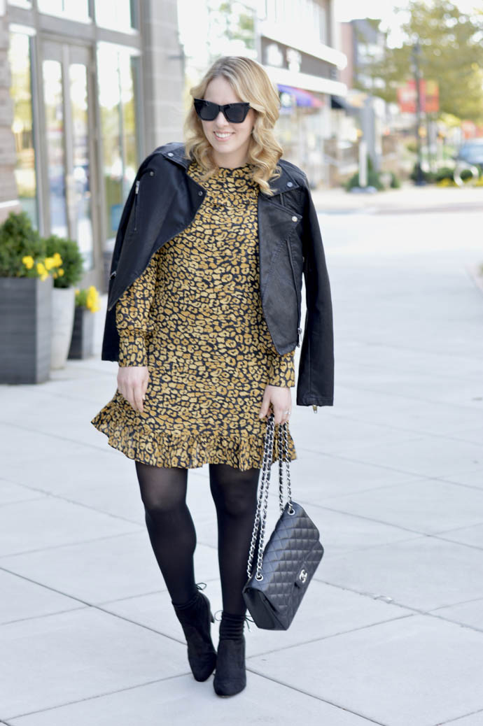 animal print dress faux leather jacket