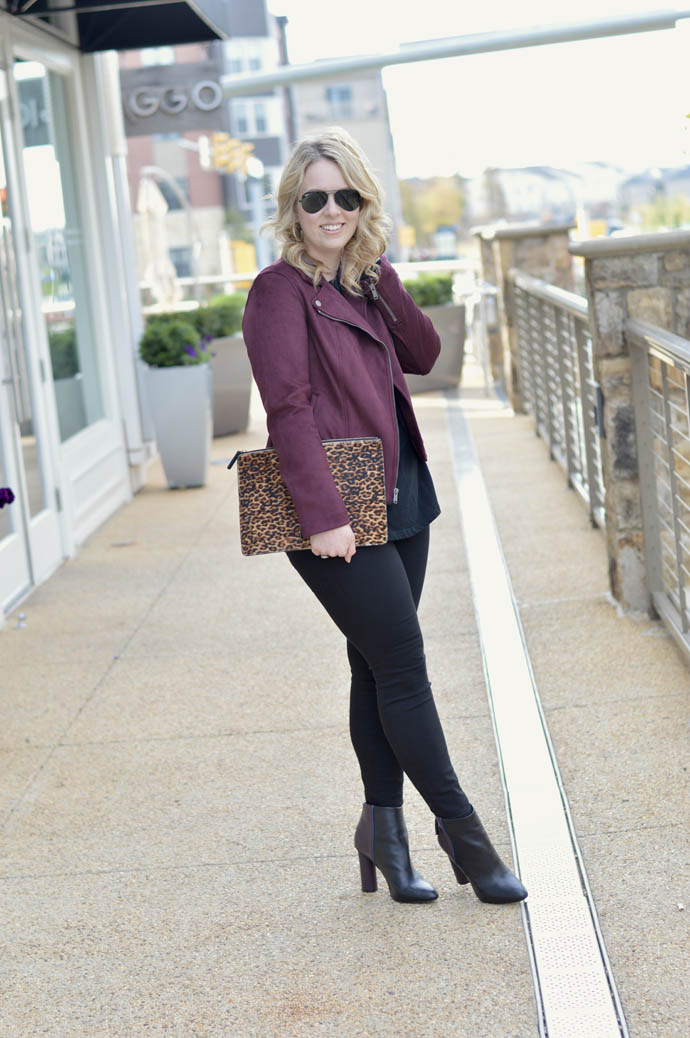 burgundy moto jacket outfit