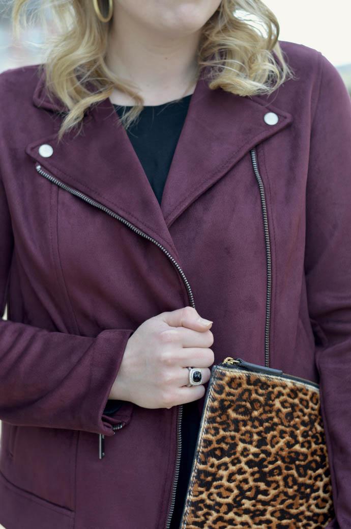 burgundy suede moto jacket