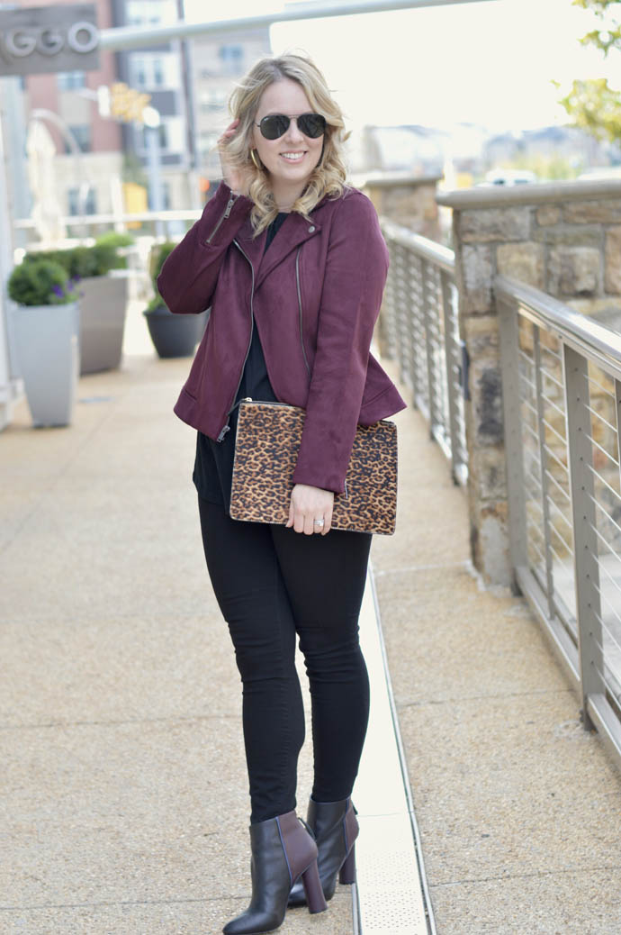 cute fall outfit moto jacket