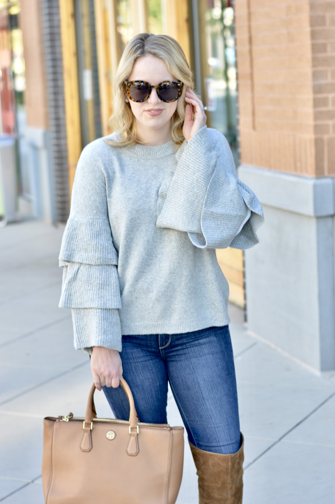 cute grey ruffle sweater