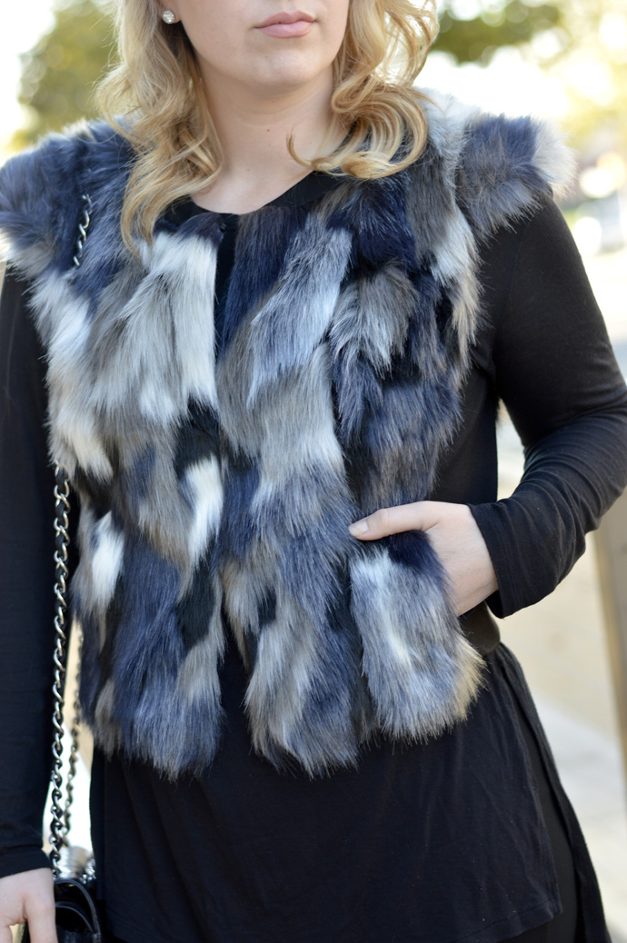 fall faux fur vest with pockets