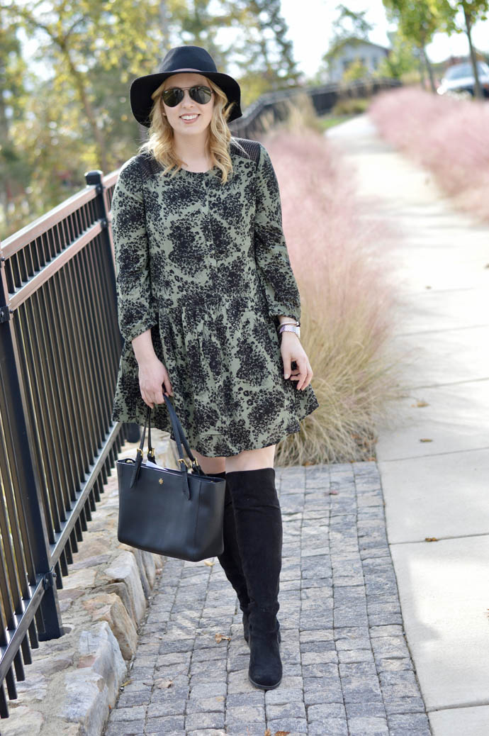 fall olive green dress outfit