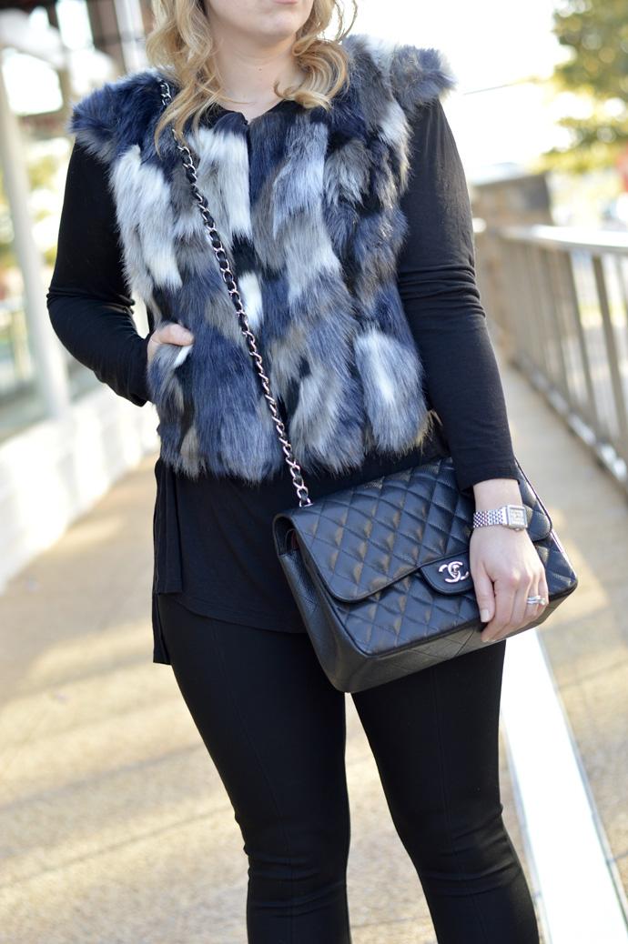 faux fur vest chanel bag