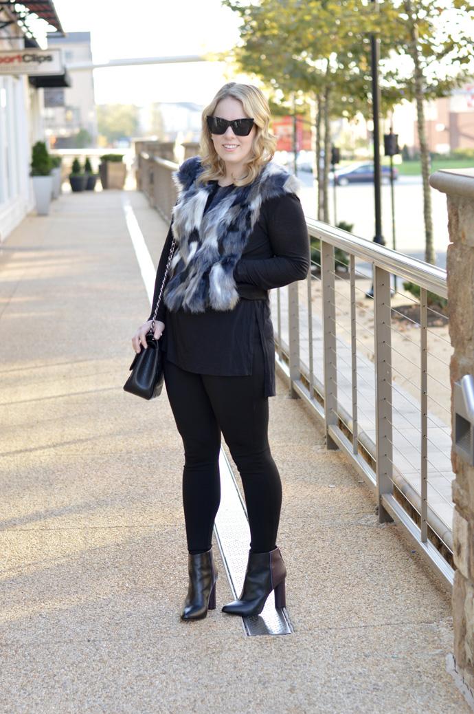 faux fur vest fall outfit