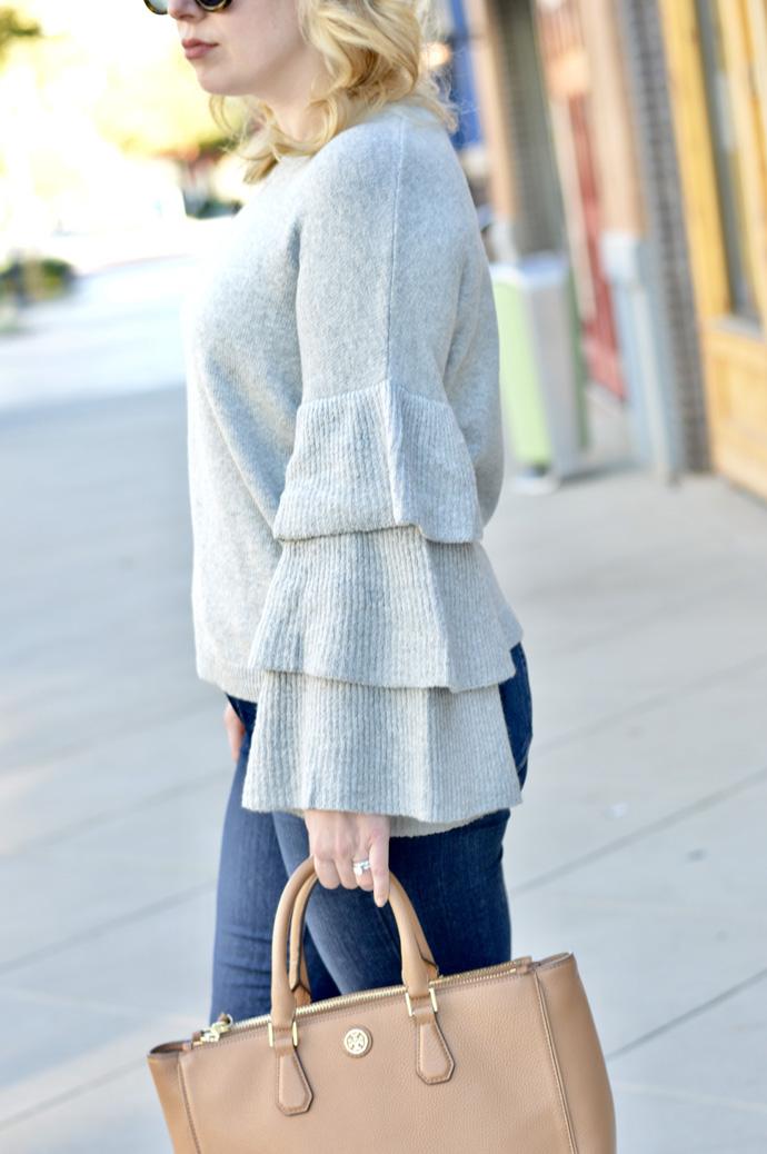 grey ruffle sleeve sweater