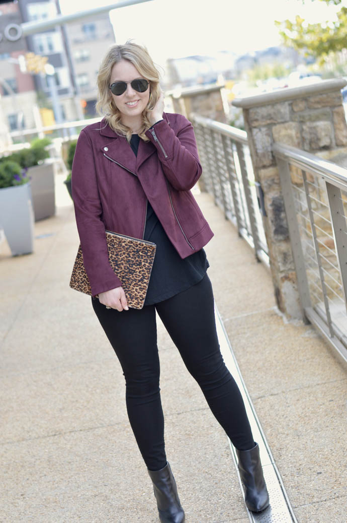 how to style a moto jacket for fall