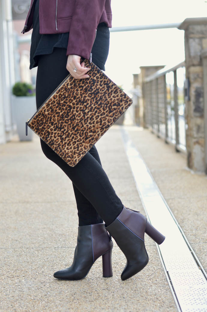 leopard clutch fall outfit