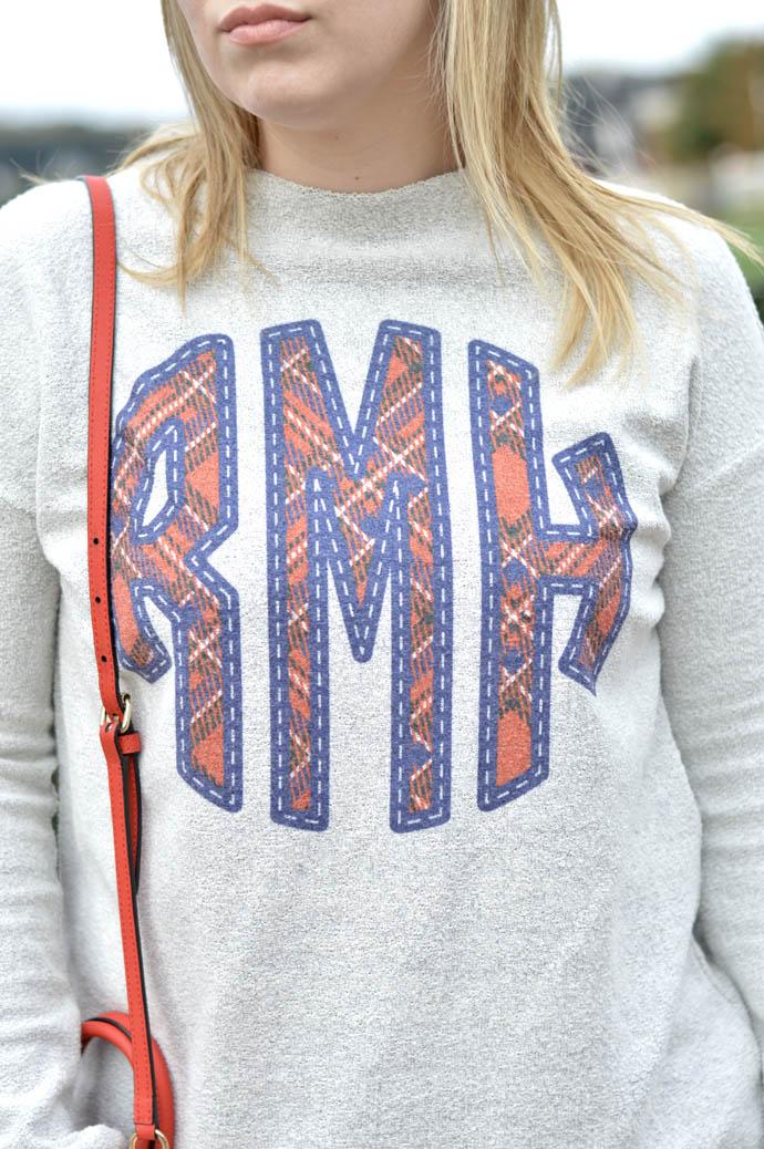 monogram sweatshirt outfit