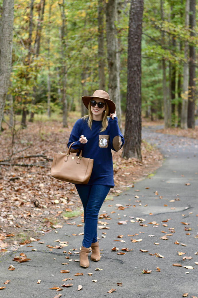 monogrammed sweater fall outfit