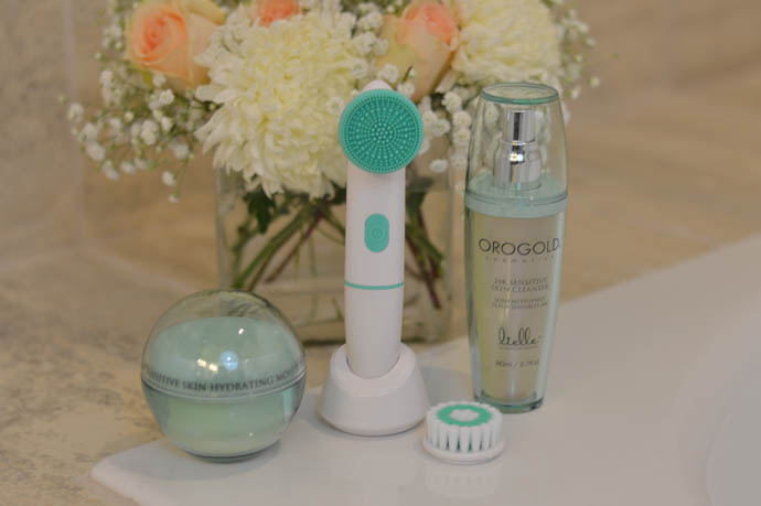 orogold cosmetics facial brush and sensitive skin cleanser