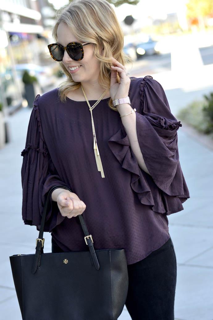 purple bell sleeve top