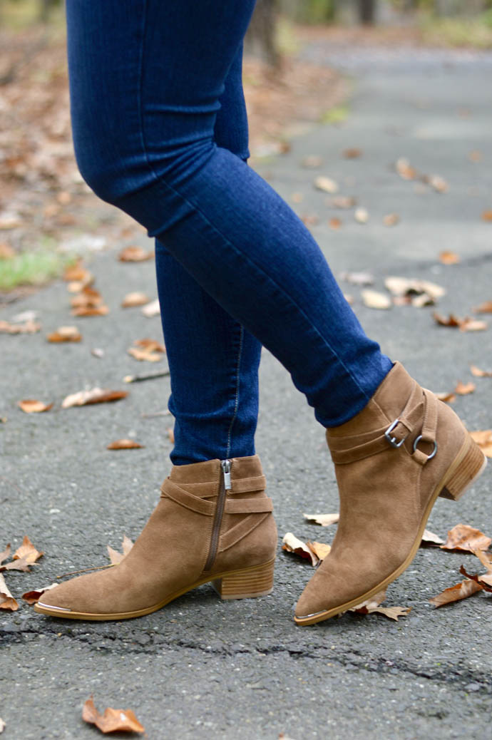 suede brown ankle booties