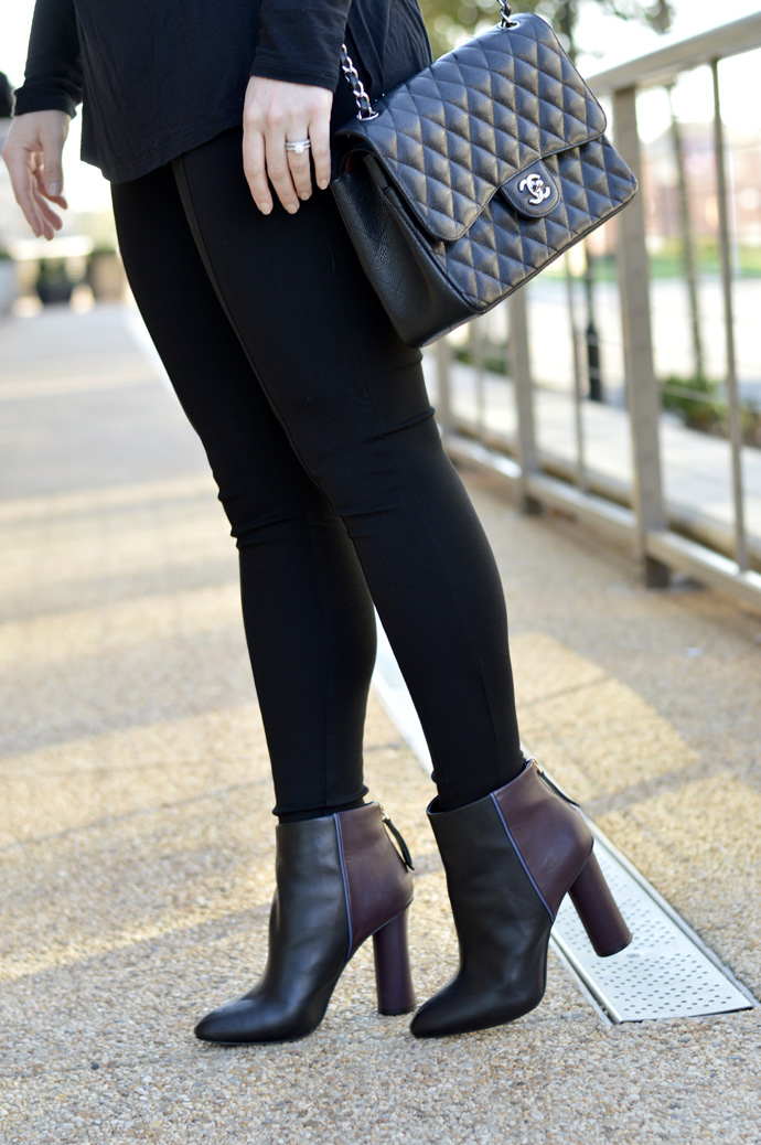 two tone ankle booties