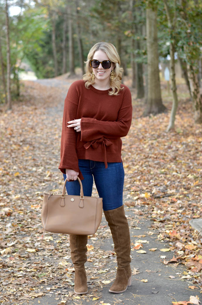 fall sweater with tie sleeves